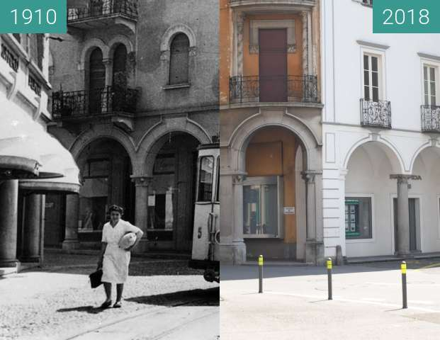 Before-and-after picture of TRAM a Mendrisio between 1910 and 2018-Jun-01