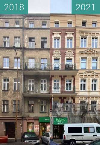 Before-and-after picture of Rebuilding of a Palace in Wroclaw between 2018 and 2021