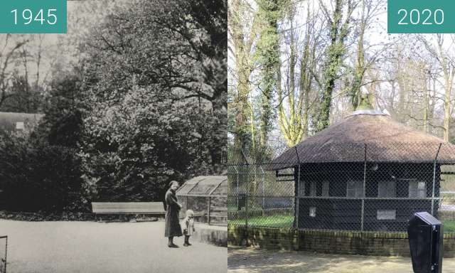 Before-and-after picture of Home for pigeons and marmots ca. 1945 - 2020 between 1945 and 2020-Mar-04