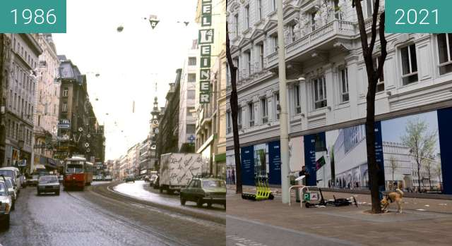 Before-and-after picture of Mariahilferstraße between 1986 and 2021-May-02