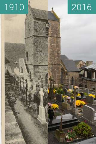 Before-and-after picture of Cemetery on the Mont-St.-Michel between 1910 and 2016-Nov-17