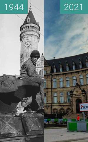 Before-and-after picture of Luxemburg; BCEE between 09/1944 and 10/2021