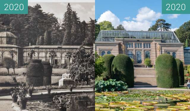 Before-and-after picture of Stuttgart - Wilhelma, maurisches Landhaus between 1920 and 2020-Sep-28