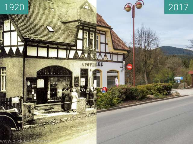 "Before-and-after picture of Schierke - ""Geburtsort"" des Schierker Feuerstein between 1920 and 05/2017"