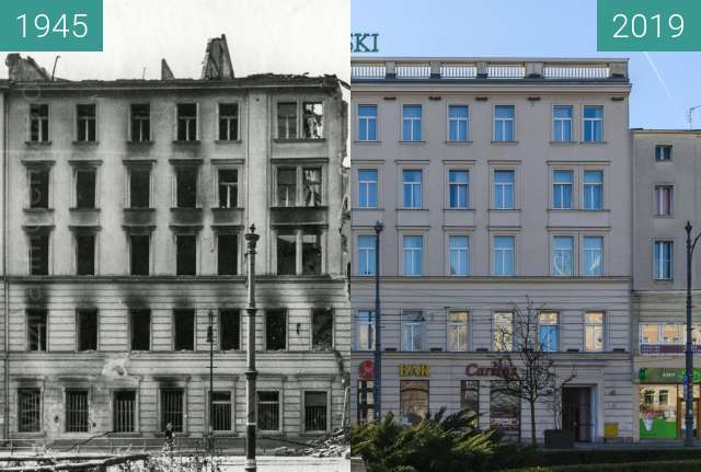 Before-and-after picture of Plac Wolności, hotel Rzymski between 1945 and 2019-Jan-16