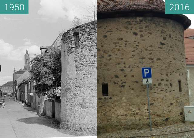 Before-and-after picture of rekonstruierter Pichschuppen in Kamenz mit Rathaus between 08/1950 and 2016-Jul-17
