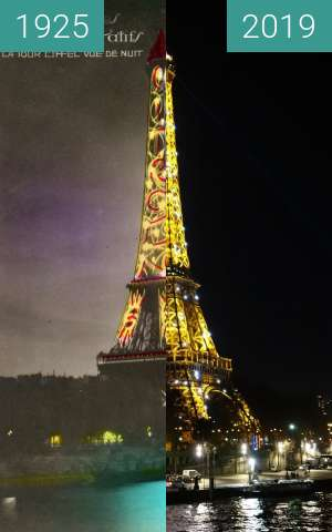 Before-and-after picture of Eiffel tower at night between 1925 and 2019-Feb-13