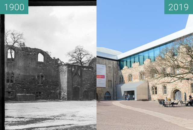 Before-and-after picture of Moritzburg Hof Halle between 1900 and 2019-Mar-22