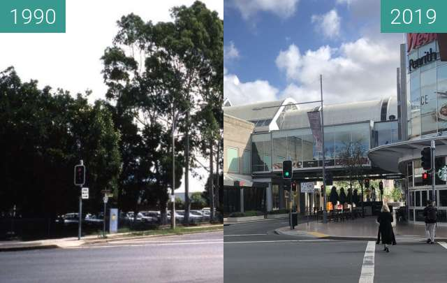 Before-and-after picture of Riley Street, Penrith between 1990 and 2019