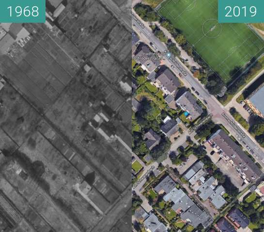 Before-and-after picture of Altenburger Straße between 1968-Mar-15 and 2019-Jan-09