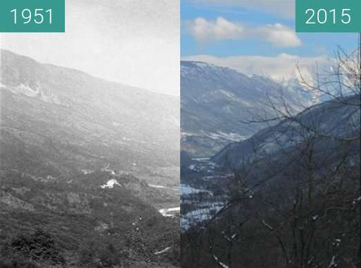 Before-and-after picture of Breginjski kot between 1951 and 2015