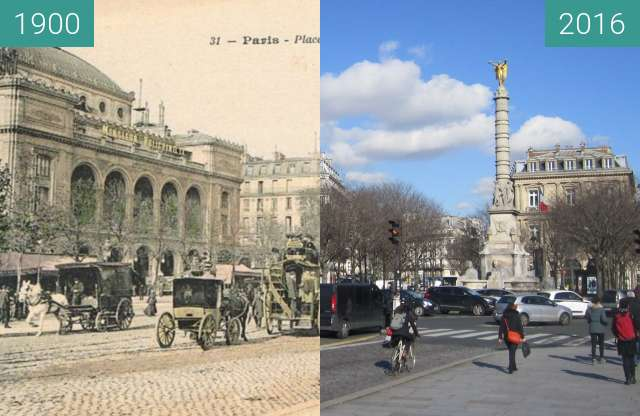 Before-and-after picture of Place du Chatelet between 1900 and 2016-Feb-19