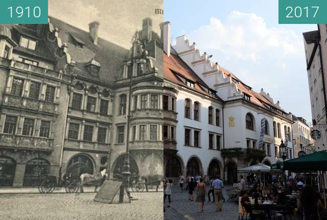 Before-and-after picture of Hofbräuhaus München between 1910 and 2017-Aug-28