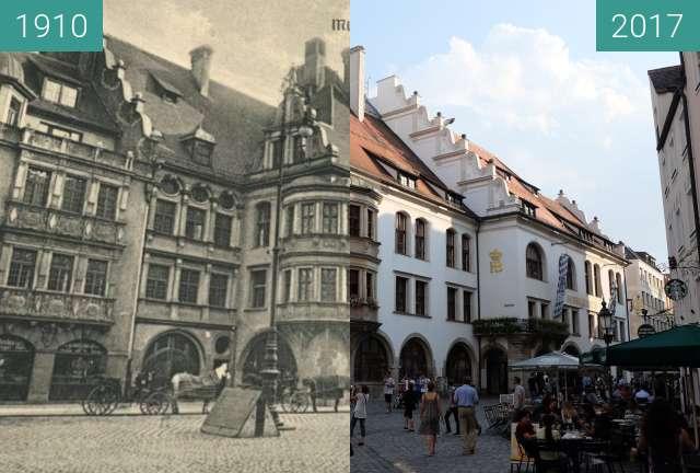 Vorher-Nachher-Bild von Hofbräuhaus München zwischen 1910 und 28.08.2017