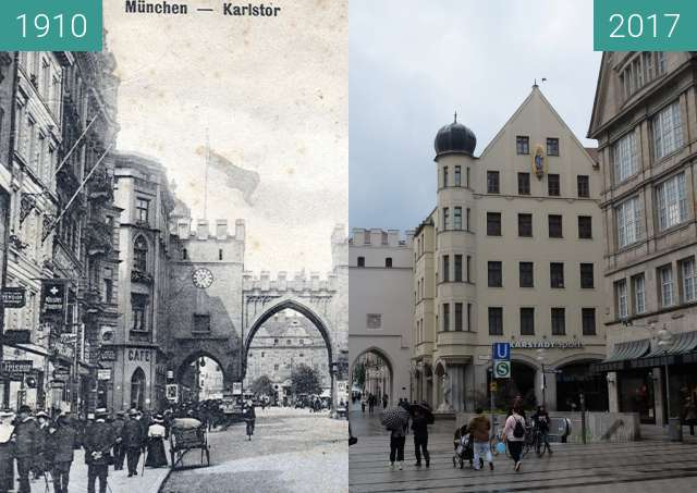 Before-and-after picture of Karlstor München (2) between 1910 and 2017-Sep-03