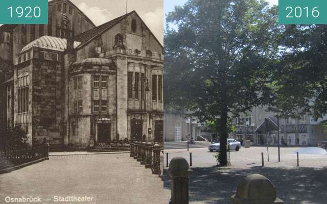 Before-and-after picture of Theater Osnabrück between 1920 and 2016-Aug-31