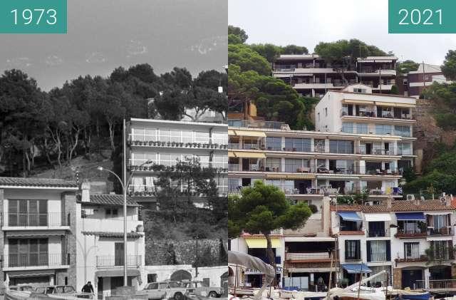 Before-and-after picture of vue de la plage de LLafranc vers l'immeuble Est between 1973 and 2021-Aug-07