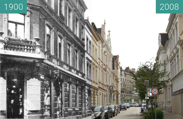 Before-and-after picture of Stolberg Rhld Kortumstraße between 1900 and 2008-Jun-15