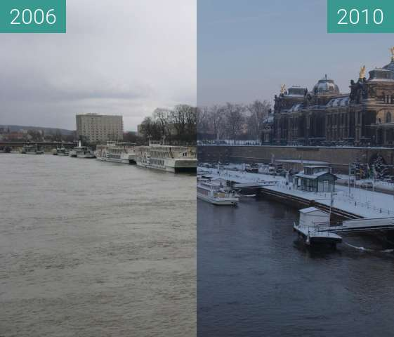 Before-and-after picture of Brühlsche Terrasse between 2006-Apr-01 and 2010-Dec-30