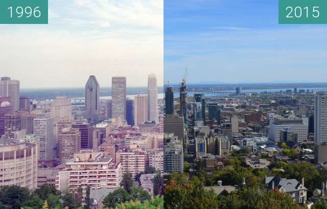 Before-and-after picture of Montreal between 06/1996 and 2015-Oct-04