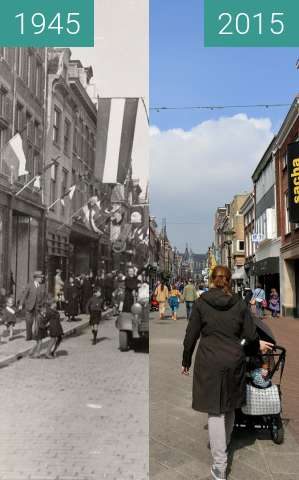 Before-and-after picture of Langestraat after liberation between 05/1945 and 2015