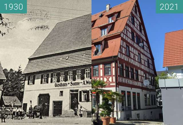 Before-and-after picture of Balingen, Gasthaus Sonne between 1930 and 2021-Sep-04