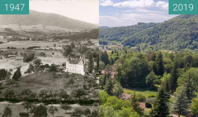 Before-and-after picture of Chateau de Hautefort between 1947 and 2019-Jul-12