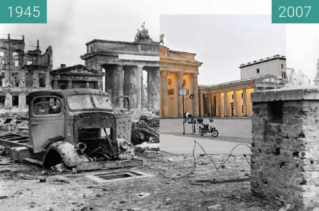 Before-and-after picture of Berlin - Brandenburger Tor 1945/2007 between 06/1945 and 02/2007