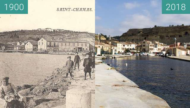Before-and-after picture of Entrée du port de Saint Chamas between 1900 and 2018-Feb-02