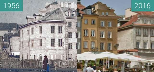 Before-and-after picture of Plac Zamkowy between 1956 and 2016