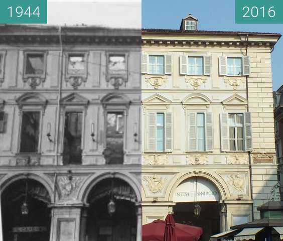 Before-and-after picture of Bombed palace in Turin between 1944 and 2016