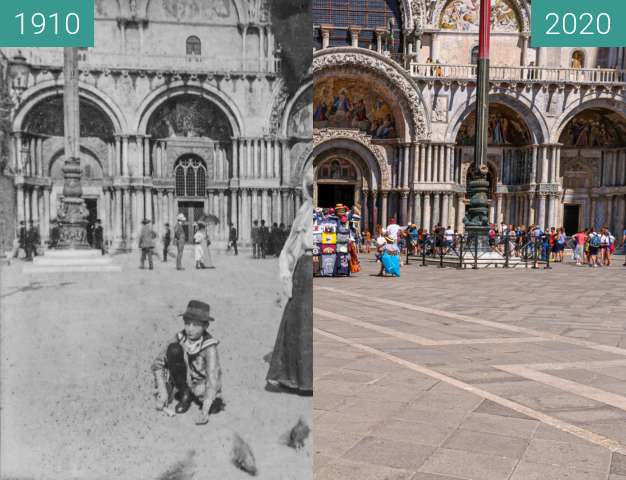 Before-and-after picture of Venedig, Markus auf dem Markusplatz between 1910 and 2020-Jul-17