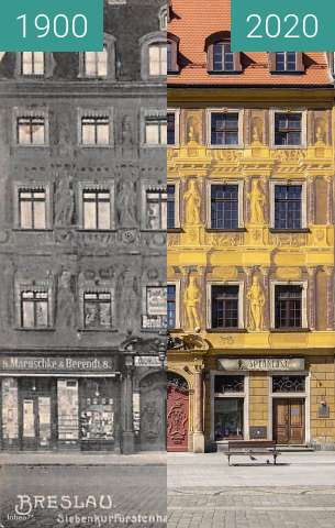 """Before-and-after picture of Kamienica """"Pod Siedmioma Elektorami"""" between 1900 and 2020"""