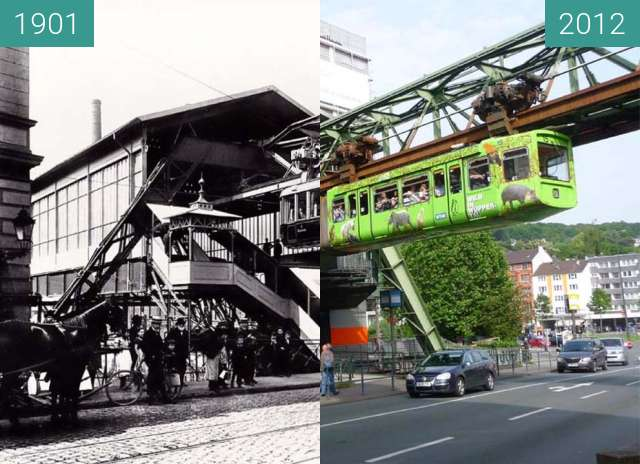 Before-and-after picture of Wuppertaler Schwebebahn 1901/2012 between 1901 and 06/2012