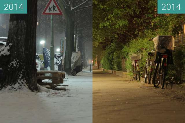 Before-and-after picture of Goßlerstraße between 2014-Jan-21 and 2014-Apr-22