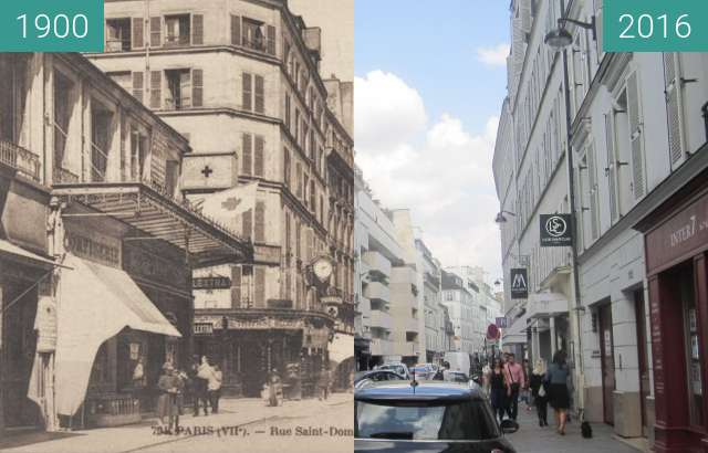 Before-and-after picture of Rue St. Dominique between 1900 and 2016-Sep-23