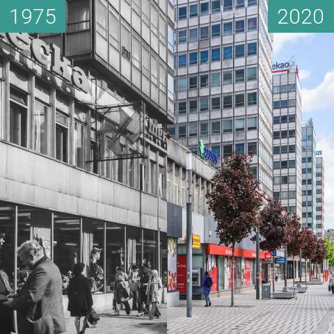 Before-and-after picture of Ulica św. Marcin between 1975 and 2020-May-06