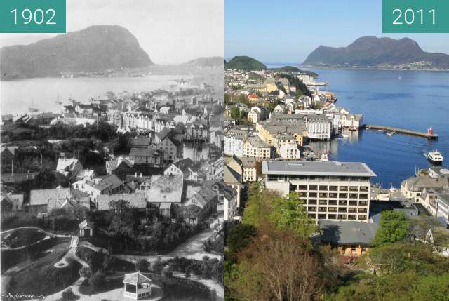 Before-and-after picture of Ålesund between 1902 and 2011