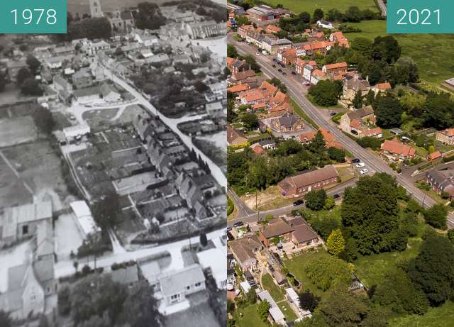 Before-and-after picture of Folkingham Over 40 Years between 1978 and 2021-Jun-13