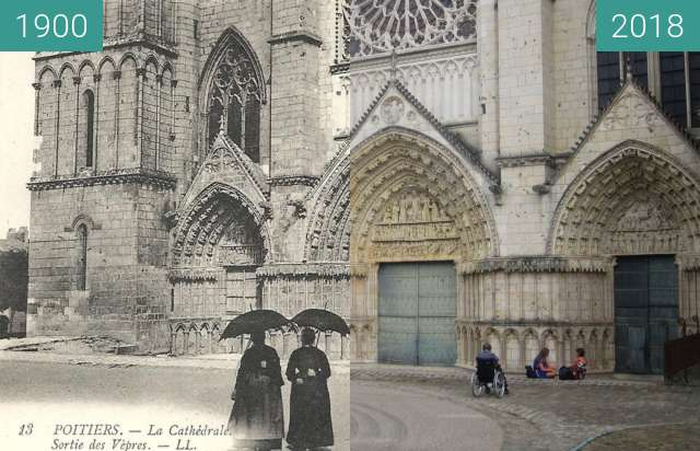 Before-and-after picture of Cathedral of Poitiers between 1900 and 2018-Jul-18