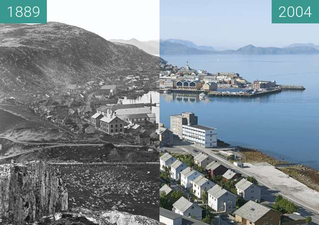 Before-and-after picture of Hammerfest between 1889 and 2004