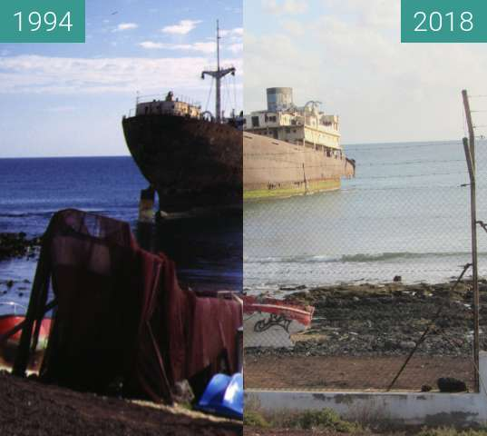 Before-and-after picture of Epave de bateau between 1994-Feb-21 and 2018-Jan-28