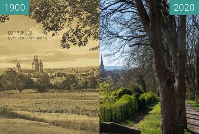 Before-and-after picture of Osnabrück vom Gertrudenberg between 1900 and 03/2020