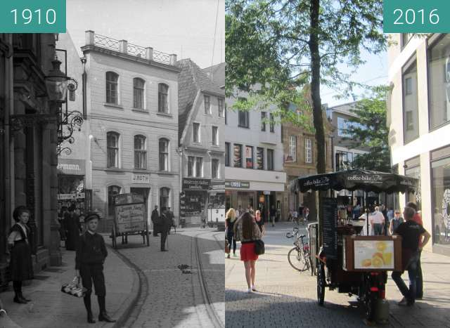 Before-and-after picture of Große Straße between 1910 and 2016-Aug-31