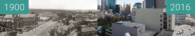 Before-and-after picture of Melbourne from Eastern Hill between 1900 and 2016