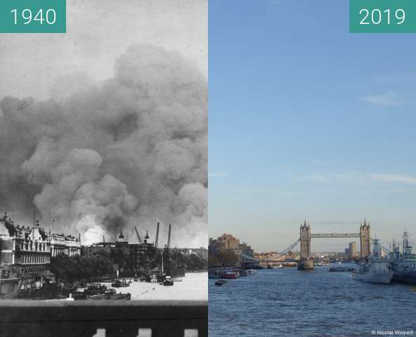 Before-and-after picture of London Blitz 1940 between 1940-Sep-07 and 2019-Nov-10