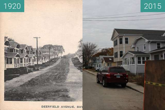 Before-and-after picture of Deerfield Avenue, Bayview Beach between 1920 and 2015