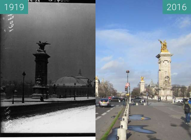 Before-and-after picture of Pont Alexandre III between 1919 and 2016-Jan-04