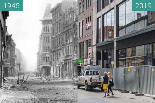 Before-and-after picture of Ulica Półwiejska between 1945 and 2019