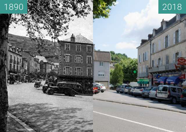 Before-and-after picture of Villefranche de Rouergue between 1890 and 2018-Jul-06